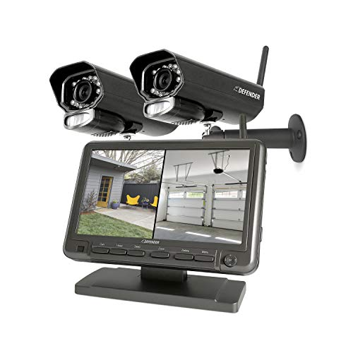 Defender PhoenixM2 Plug & Play Wireless Security Cameras- for Home & Business Surveillance Indoor & Outdoor Bullet Cameras with 7 Inch LCD Display Monitor, No Wi-Fi Needed Free 16 GB SD Card Included