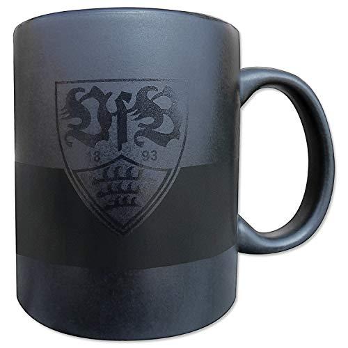 VfB Stuttgart Tasse - glänzend schwarz - Kaffeetasse, Becher, Kaffeepott, Mug - Plus Lesezeichen Wir lieben Fußball