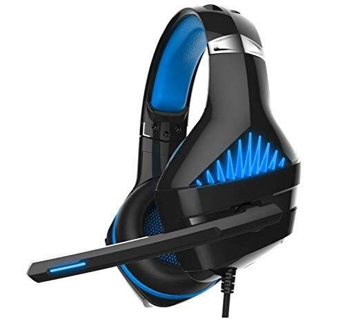 WHSS For PS4 Headset Auricular For Juegos De PC Xbox One Auriculares con Micrófono Auriculares For Juegos De Ordenador (Color : Black/Blue)