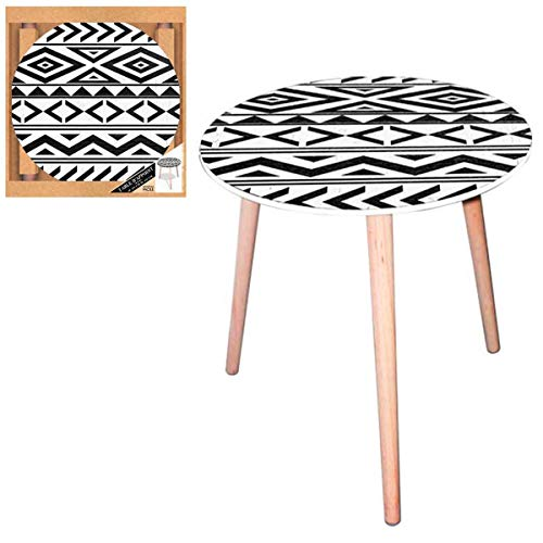 Les Trésors De Lily [Q5147 - Table Ronde résine 'Boho' Blanc Noir (Tribal) - 40 cm