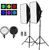 Andoer RGB Softbox Kit Iluminacion Fotografia con 2 * RGB LED Regulable de 45W,2 * Softbox,2 * Trípode de 200cm,2 * Control Remoto,para Toma de Retratos, Toma de Productos, Toma de Video, etc.