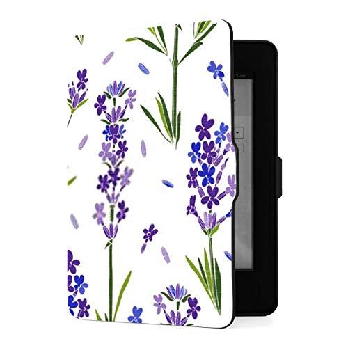 Funda para Kindle Paperwhite 1 2 3, patrón de vectores sin Costuras, Flores de Lavanda, Funda de Piel sintética Floral con Despertador automático Inteligente, para Amazon Kindle Paperwhite