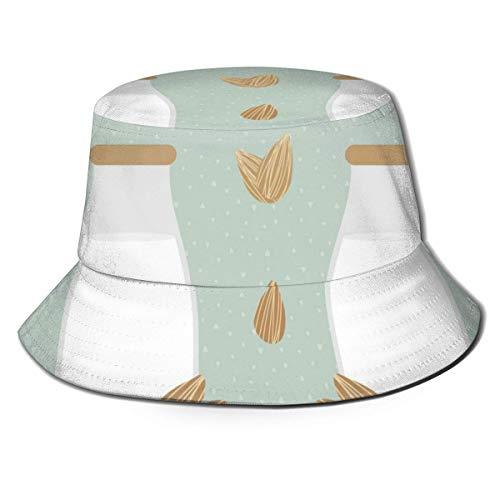 Trushop Unisex Bucket Hat Fisherman Hat Cap Flessen van Amandelmelk Vissen Visser Beach Caps voor Mannen Vrouwen