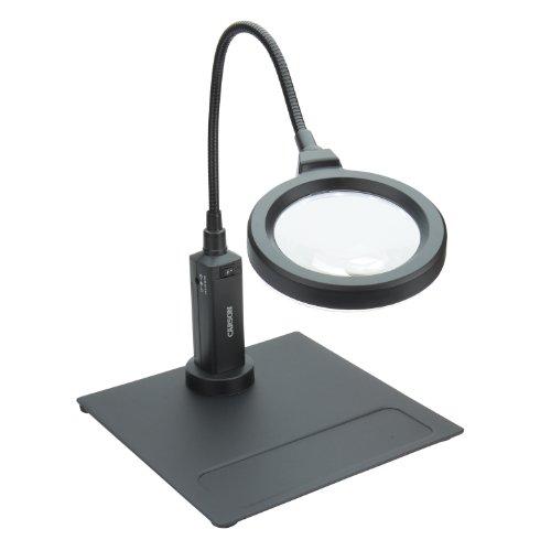 Carson MagniFlex Pro 2x LED Lighted Gooseneck Flexible Magnifier with 4x Spots Lens and Magnetic Base (CP-90) Black