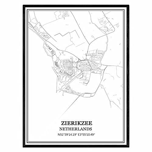 Zierikzee Niederlande Karte Wandkunst Leinwand drucken Poster Artwork ungerahmt moderne Schwarz-Weiß-Karte Souvenir Geschenk Home Decor