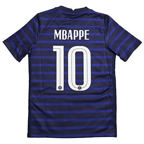 エムバペ ムバッペ サッカーユニフォーム フランス代表 ホーム 青色 パリサンジェルマン 背番号10 レプリカサッカーユニフォーム 子供用 ジュニア BRUGGE オリジナルセット商品 (ホーム, M)