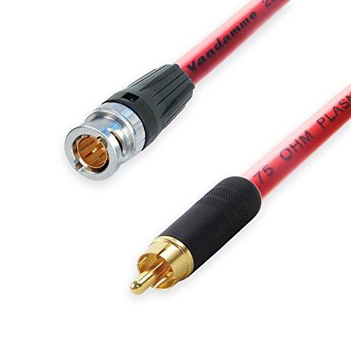 Neutrik BNC aan RCA Lead. Van Damme 75ohm Plasma Coax kabel CCTV Video SPDIF 25m Rood