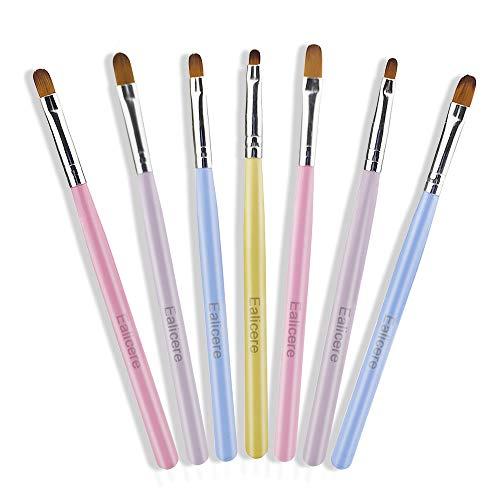Ealicere 7 pièces pinceau ongle gel Ensemble de pinceaux à ongles Acrylique Nail Brush Kit Brosses et déco d'ongles gel UV pinceau nail art ongles