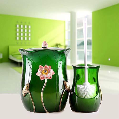 HDOUBR Toilettenbürste Set kreative Toilettenbürste mit Basis Bad WC-Bürste dauerhafte Toilettenbürste weiche Haarbürste, Lotus Teich Mondschein + Mülleimer