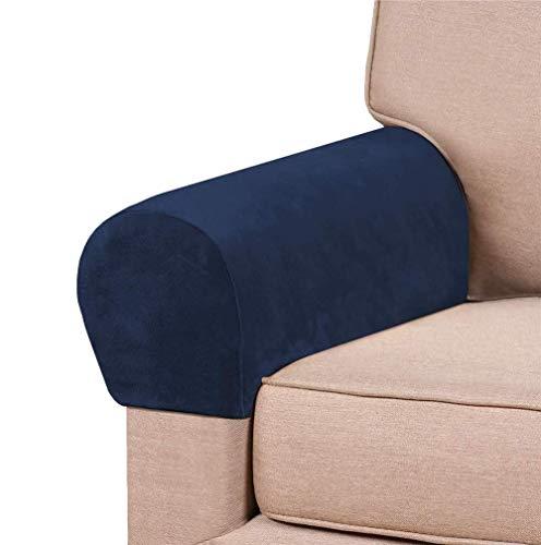 Jonist Fundas de reposabrazos elásticos de Terciopelo Grueso para sillas y sofás Fundas de sillón para Brazos Fundas de Brazo de sofá Fundas de reposabrazos para sofá Antideslizantes (Azul Marino,