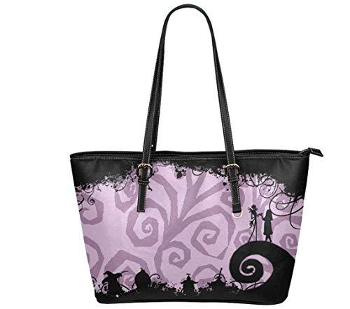 Jack and Sally Print Women's Leather Tote Shoulder Bag Big Capacity Work Travel Handbag (15)