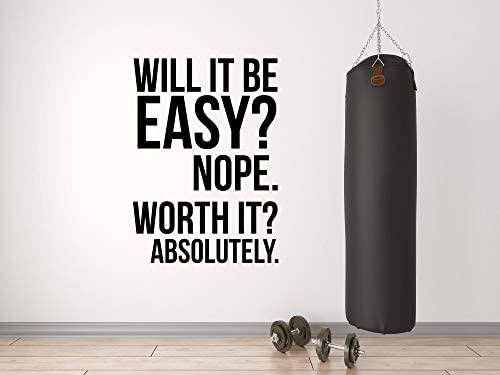Worth It Gym Wall Vinyl Decal Motivational Quote Fitness Weight Loss Diet Kettlebell Health product image