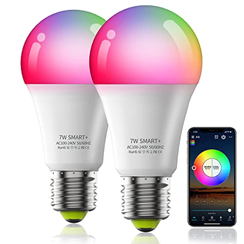 Zombber Smart Light Bulbs, Music Sync RGB Color Changing Light Bulb A19 7W 60W Equivalent, Multicolor Decorative No Hub Required WiFi LED Bulb, Work with Alexa Google Home Echo for Party Home(2 Pack)