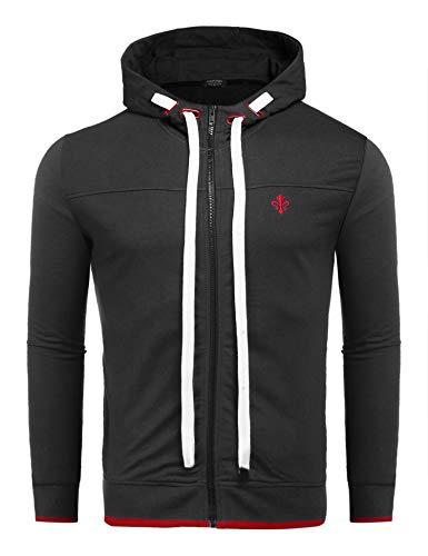 Wixens Herren Kapuzenpullover Kapuzenjacke Stehkragen Reißverschluss Übergangsjack Dünn Sweatshirt Jacke für Männer schwarz s
