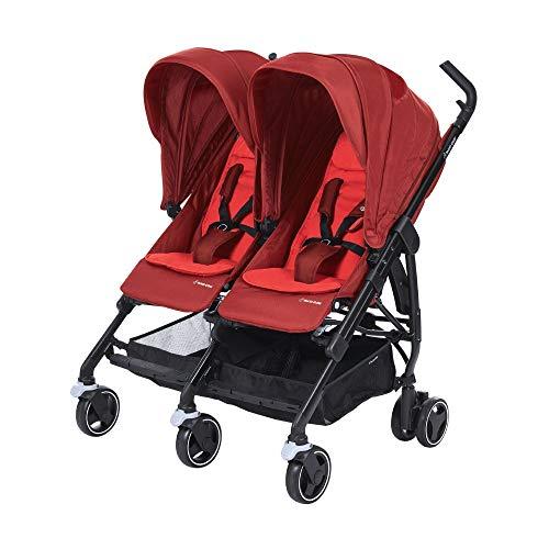 Maxi-Cosi Dana For Zwei Zwillingskinderwagen, Kompakter Geschwisterwagen, Nutzbar ab der Geburt bis 3,5 Jahre (0-15 kf), Kompatibel mit allen Maxi-Cosi Babyschalen, Vivid Red (rot)