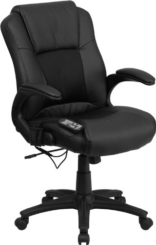 Flash Furniture Ergonomic Massaging Black Leather Executive...