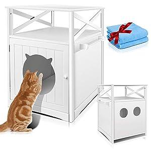 Masthome Mueble de Baño para el Arenero de Gatos,Cubierta para Caja de Arena de Madera para Gatos,Banco de Almacenamiento para Lavabo de Gato,52 x 48,5 x 63,5 cm,Blanco 8
