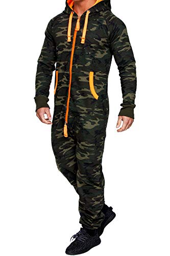 Amaci&Sons Herren Overall Jumpsuit Jogging Onesie Trainingsanzug Camouflage 3001 Camo Khaki 3XL