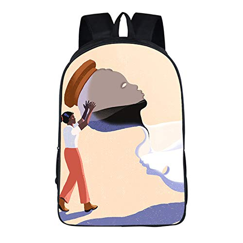 INSTO I Can Not Breathe Backpack,School Bag Student Satchel,Anti-Racial Discrimination Printed Rucksack Simple Casual / A3 / 29×16×42cm