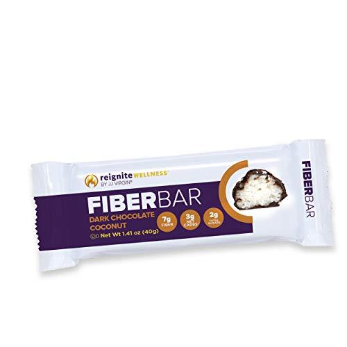 JJ Virgin Dark Chocolate Coconut Fiber Bars - Dairy Free & Gluten Free High-Fiber Supplement Bar - Supports Diet & Weight Management, 7 Grams of Fiber & Healthy MCT Oil (Box of 12)