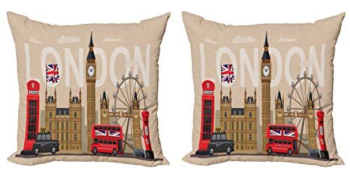 ABAKUHAUS Londres Set de 2 Fundas para Cojín, Puntos de Referencia de Gran Bretaña, con Estampado en Ambos Lados con Cremallera, 40 cm x 40 cm, Multicolor