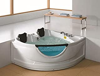 2 Person Luxury Massage Hydrotherapy Recessed Corner Bathtub Tub Whirlpool, with Bluetooth, Remote Control, Inline Water Heater, and 19 Total Jets