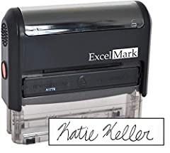 """Signature Stamps by ExcelMark are available in 4 different sizes - Impression area - Small: 11/16"""" by 1-7/8"""", Medium: 5/8"""" by 2-21/32"""", Large: 7/8"""" by 2-5/16"""", Extra Large: 1-1/16"""" by 2-21/32"""" Prints in black ink, ink pads are replaceable and re-inka..."""