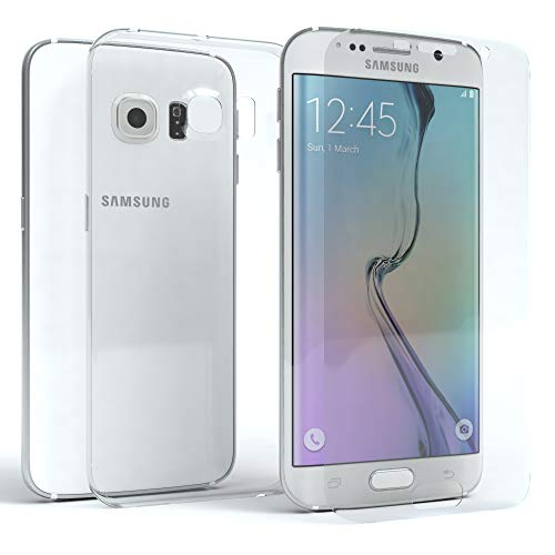 EAZY CASE Silikonhülle & Panzerglas Set für Samsung Galaxy S6 Edge Plus I Displayschutzglas, Panzerglas nur 0,3 mm 9H Härte, Schutzhülle Ultra dünn, Silikon Hülle, Backcover, Transparent/Kristallklar