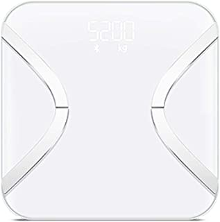 V-OPQ Digital Scale, Bluetooth Digital Bathroom Weighing Household Electronic Scales BMI Analyzer Health Monitor With,For Body Weight,Muscle Fat,Bone,For Home (Color : White, Size : Wired)
