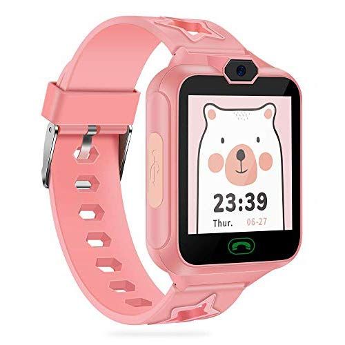 Kinder Smartwatch, AGPTEK kinderuhr Telefon Uhr, Touchscreen kidswatch Phone mit Musik Player, SOS Anruf, Kamera, 7 Spielen, Wecker für Mädchen als Geschenk, mit 8GB SD Karte, Rosa