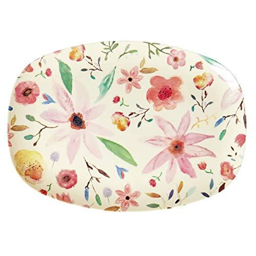 Rice Melamin-Teller Essteller oval 100% Melamin Blumen bunt