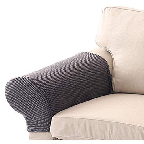 XHNXHN Funda de reposabrazos de sofá a Cuadros con Forro Polar Grueso, Tela para el hogar, Funda de reposabrazos de sofá, Juego de 2 Toallas elásticas Lavables antifouling para reposabrazos (Gris,