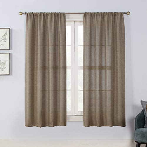 Rama Rose Soft Burlap Look Rod Pocket Semi Sheer Farmhouse Curtain Panel for Bedroom Room, 37 Inches Wide, 63 Inches Long, 1 Panel, Natural Taupe