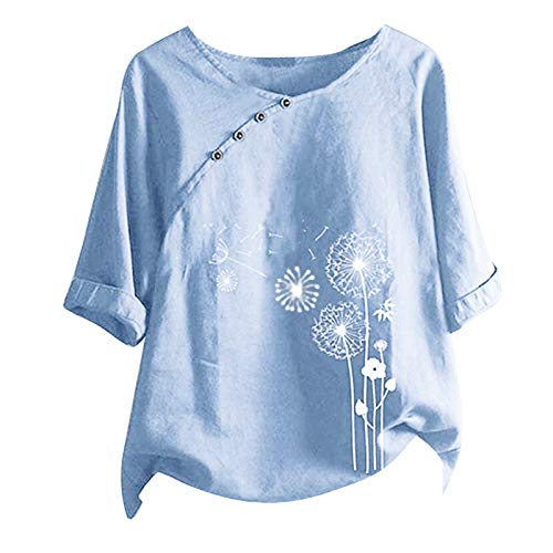 VEMOW Camiseta de Manga Corta Suelta T-Shirt Sudaderas Moda Motivo de Gato Estampado Camiseta Cuello Redondo Tops, Verano Basica Blusa Tops Mujer Baratas Tallas Grandes con Botones(I Azul Claro,4XL)