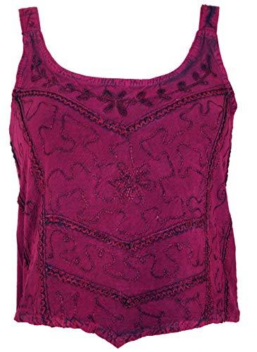 GURU SHOP Besticktes Top Chic, Hippie Top, Damen, Pink, Synthetisch, Size:38, Tops & T-Shirts Alternative Bekleidung