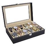 AUTOARK Leather 12 Watch Box Glass Top Watch Jewelry Display Case Organizer,Beige Pillows,Black,AW-083