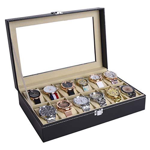 AUTOARK Cuero 12 Caja de reloj de cristal Top Watch Display Case Organizer, balcón, AAWU-022