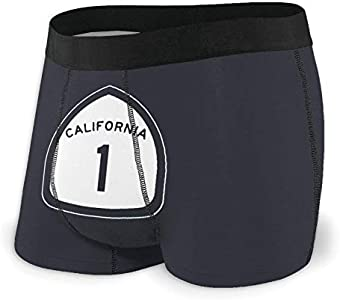 Yuanmeiju Mens Boxer Shorts Fitted Bragas California State Highway Route 1 Sign Trunks Quick Dry Ropa Interior