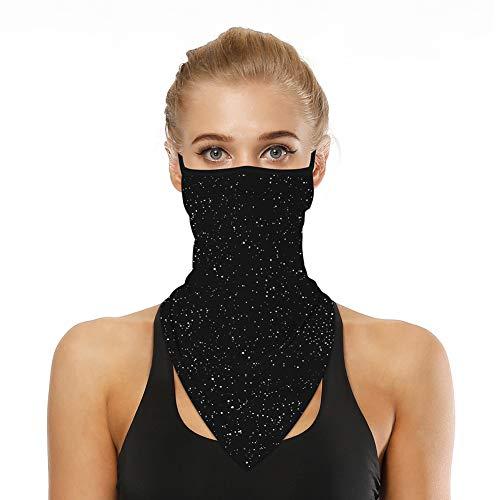 Ear Loop Bandana Face Mask Sun UV Dust Wind Neck Gaiter Face Cover Men Women Scarf Headband Head Wrap Headwear Balaclava for Cycling Hiking Fishing Outdoor Activities(Black Sky)