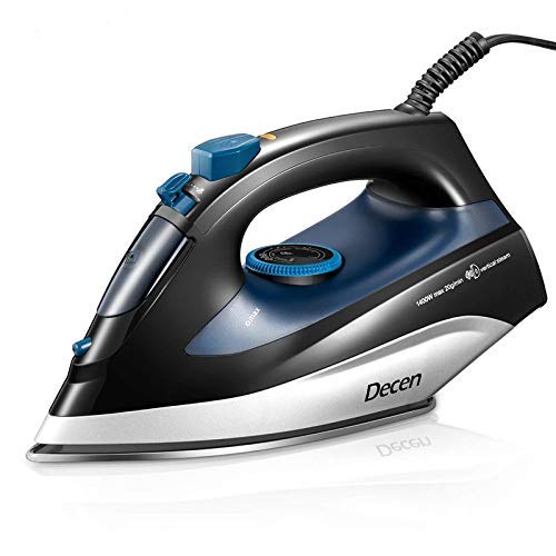 Best Price! Steam Iron, DECEN 1400W Large Capacity Irons with Compact Thermostatic Stainless Steel N...