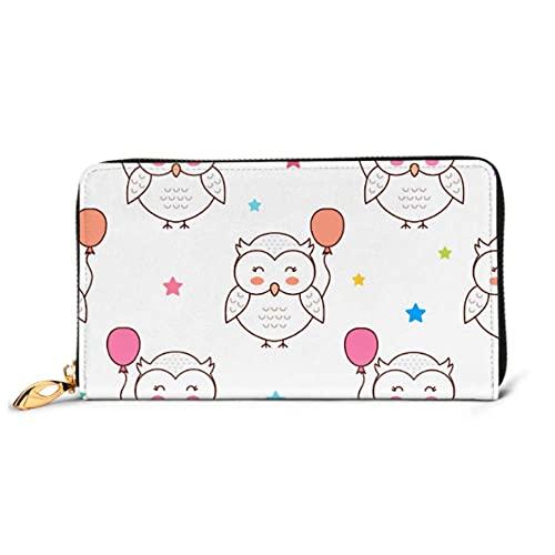 Ahdyr Mode Handtasche Reißverschluss Brieftasche Eulen Luftballons Cartoon Muster Telefon Kupplung Geldbörse Abendkupplung Blockieren Leder Brieftasche Mult