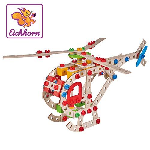 Eichhorn Constructor Hubschrauber, vielseitiges Holzspielzeug, 225 Bauteile, 5 verschiedene Konstruktionen, für Kinder ab 6 Jahren