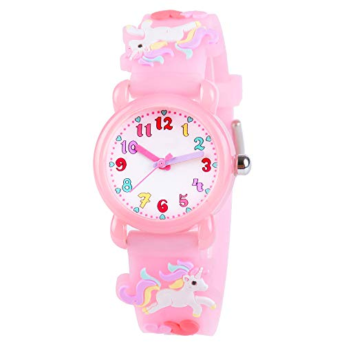 Venhoo Kids Watches 3D Cute Cartoon Waterproof Silicone Children Toddler Wrist Watch Unicorn for 3 4 5 6 7 8 Year Girls Little Child-Pink
