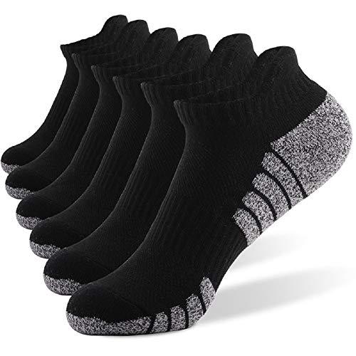 6 Pares Calcetines Running Para Hombre Mujer - Deporte Calcetines Cortos de Algodón Con Amortiguación Respirable Running Ciclismo (6 Pares Negro, EU 43-47)