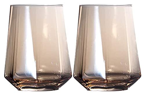 LBBZJM Whisky Tumblers Gafas 2-Paquete 10 Oz Colorido Tallo de Vino Taza de Vino, Copas de Bebida sostenible Bebida Tumbler Snifters Reutilizable Gafas de Agua apilables (Color : A, Size : 300ml)