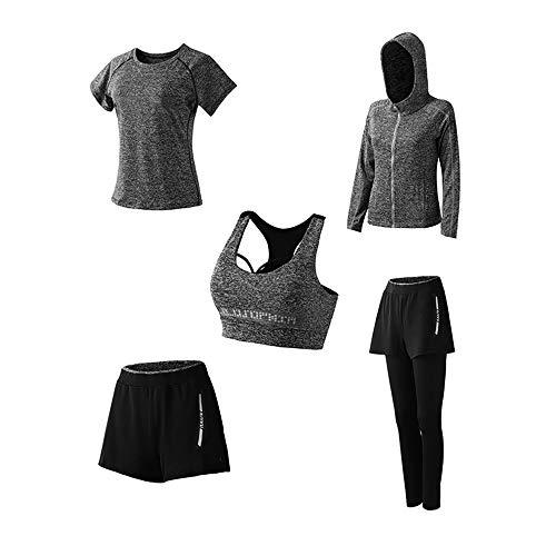 Yoga Kleidung Anzug 5er-Set Trainingsanzug Laufbekleidung Gym Fitness Kleidung (Dunkelgrau, M)