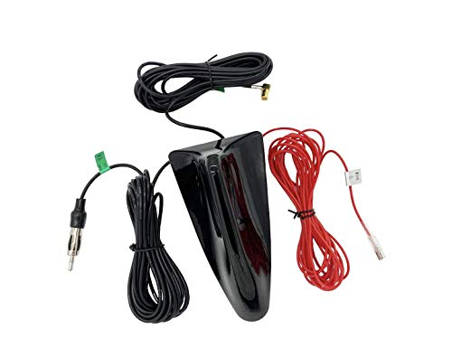 Vecys DAB DAB+ Autoantenne Haifischflosse FM/AM Radio Antenne Signalverstärker SMB zu DIN Stecker Anschluss Autodach DAB Auto Digital Stereo Radio 5m RG174 Kabel für Fahrzeug Auto Digital FM/AM Radio