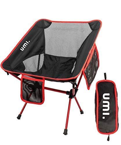 UMI Tragbarer Campingstuhl, kompakt, Ultraleicht, zusammenklappbar, mit Tragetasche für Wandern, Strand, Angeln, Outdoor-Aktivitäten, strapazierfähig, 250 kg, Rot