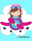 Sketchbook: A Cute Girl Pilot Flight Theme Large 8.5' X 11' Personalized Artist Sketch Book Notebook Workbook and Blank Paper for Drawing, Painting ... Journal for Kids and adults [Idioma Inglés]