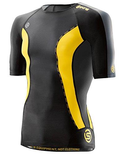 SKINS Men's  DNAmic Men's Compression Short sleeve Top, black/Citron, Medium